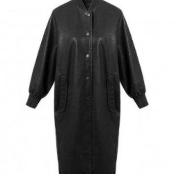 Longline Faux Leather Coat with Full Lining