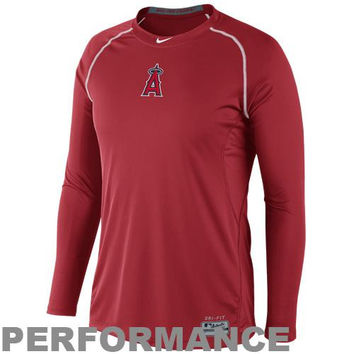 Nike Los Angeles Angels of Anaheim Pro Combat Core Raglan Long Sleeve Performance T-Shirt - Red