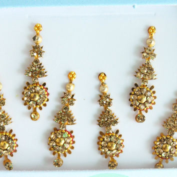 6 Gold Face Bindis Jewels,Wedding Long Bindis Stickers,Stone Bindis,Gold Bindis,India Bindis,Bollywood Bindis,Bindis,Self Adhesive Stickers