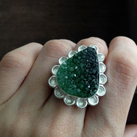 Dyed Green Druzy Ring - Sterling Silver over Copper - Size 7