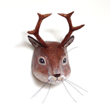 Paper mache wall mount head sculpture of mythical animal chipmunk whit antlers, (unique collection animal decoration)