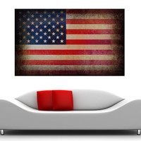 American Flag WITH FRAME canvas print Digital old USA flag to your wall, Art old American flag