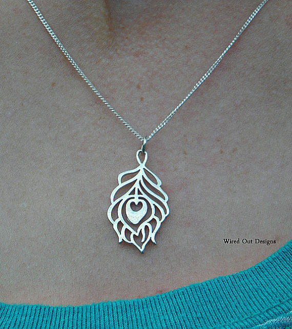 Sterling Silver Small Peacock Feather Necklace