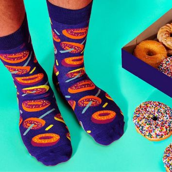 LIONZONE New Arrival Food Series Unisex Happy Socks Men&Women Art Abstraction Creative Donut Cake Toast Poached Egg Socks