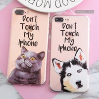 SoCouple For iphone 5s 5 SE 6 6s 7 8 6/7/8plus 3D Relief Case Funny Dog Cat Husky Pattern Anti-Knock Airbag Silicone phone case