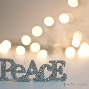 Peace Photo, Silver Gold Natural Pale Decor, Golden Beige Champagne Holiday Lights Bokeh Silvery Glitter Word Art, 8x10 Neutral Photography