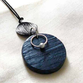 Hand Carved Dark Blue Wood Pendant – Black Charm - White Faux Pearl Accent – Black Cord – Spring Ring Clasp