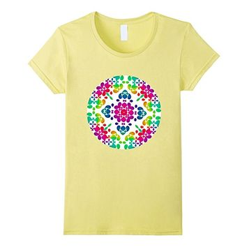Colorful Bright Rainbow Flower Circle Graphic T-Shirt