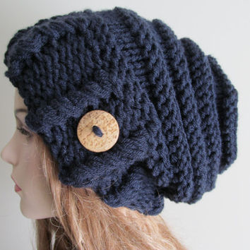 Oversized Slouchy Beanie Slouch Hats Baggy Beret Button womens fall winter accessory Blue Super Chunky Hand Made Knit