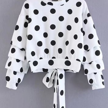 Elegant Round Neck Long Sleeve Polka Dots Back Lace Up Sweatshirt - NOVASHE.com