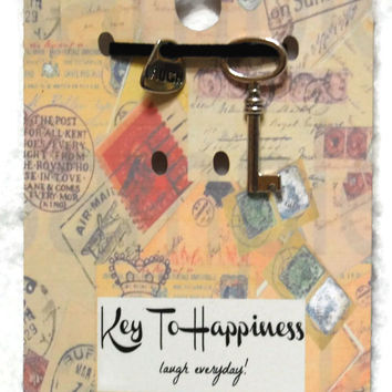 Keys To Happiness - Laugh Everyday, Key Charm, Necklace Charm, Antique Key, Skeleton Key Pendant, Stocking Stuffer,Party Favor,Wedding Favor