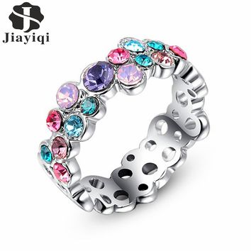 2017 Fashion Party Rings with Multicolour AAA Austrian Cubic Zircon Jewelry for Women Wedding Ring whit free gift box