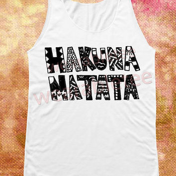 NEW Hakuna Matata Shirts Lion King Shirts Text Shirts White Shirts Unisex Shirts Vest Women Tank Top Women Shirts Sleeveless Singlet