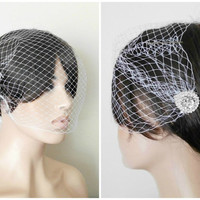 Bridal Veil and Bridal Comb, Bandeau Birdcage Veil, Bird Cage Veil , Feather Fascinator with Rhinestone Fascinator Comb