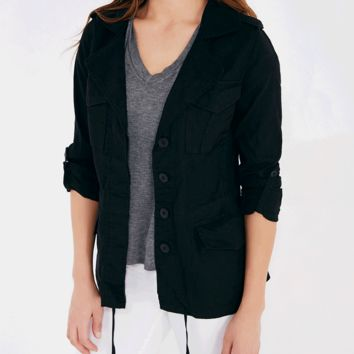 Linen Anorak Jacket With Notched Collar | Wet Seal