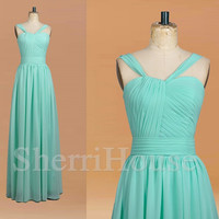 Mint Strapless Spaghetti Straps A-line Long Bridesmaid Celebrity dress ,Floor length Chiffon Evening Party Prom Dress Homecoming Dress