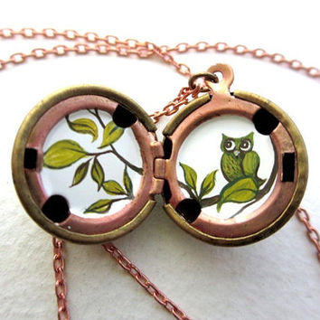Spring Owl Locket with Green Leaves, Feathers and Branches - Hand-Painted Miniature - Vintage Stock Brass Ball