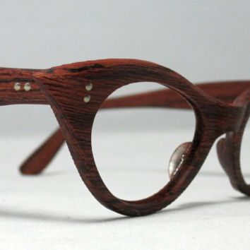 Vintage Cat Eye Eyeglasses Faux Bois Fake by CollectableSpectacle
