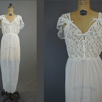 1950s Sheer Crystal Pleats & Lace Nightgown, White Nylon Nightgown, fits 36 inch bust, Vintage Nightgown