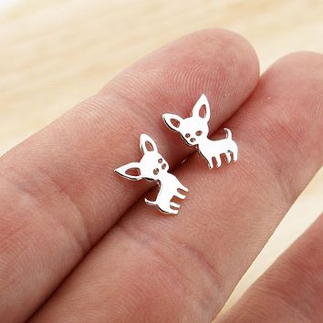 SMJEL New Arrival Animal Earrings Small Chihuahua Earrings for Women Cute Pet Dog Studs Jewelry love my pet pendientes brincos