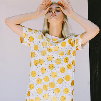 Gold Print T-shirt Dress
