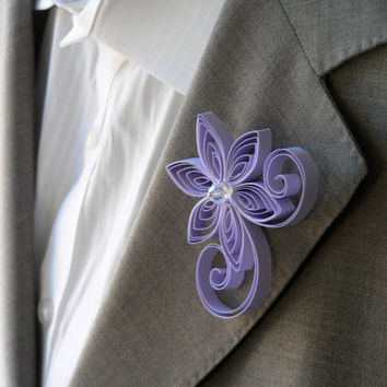 Tanzanite Boutonniere, Pale Purple Buttonhole, Easter Wedding Boutonniere, Mens Wedding Boutonnieres