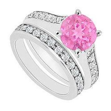 14K White Gold : Pink Sapphire and Diamond Engagement Ring with Wedding Band Set 1.10 CT TGW