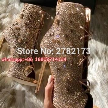 Newest Trend Women Crystal Stiletto High heels Open Toe Lace Up Gladiator Sandal Boots Fashion Rhinestone Sexy Ankle Booties