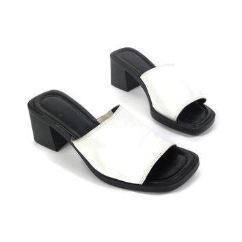 90s Minimalist White Leather Mules Chunky Heel Sandals Open Toe Backless Slides Black White Sandals Club Kid Goth Summer Sandals (6)