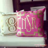 Monogram Throw Pillow Cover - Hot Pink Metallic Gold or Silver Monogram