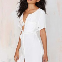 Total Flirt Shirt Dress - White
