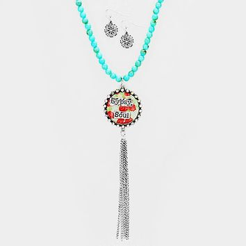 """Gypsy Soul"" Patterned Round Drop Chain Tassel Necklace"