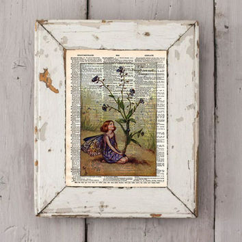 Vintage Flower Fairy art - Forgetmenot Fairy - cute fairy girl - Fairy art print,  Dictionary print art