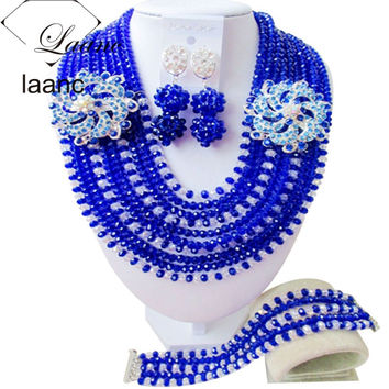 Handmade African Jewelry Set Royal Blue and Clear ab Crystal Necklace Clip Earrings AL110