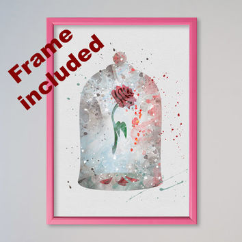 Beauty and the Beast Poster Disney Poster The Enchanted Rose Belle Disney Cursed Rose Print FRAMED