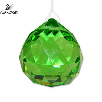 Swarovski Green Crystal WINDOW ORNAMENT SPHERE Light Peridot #1176166