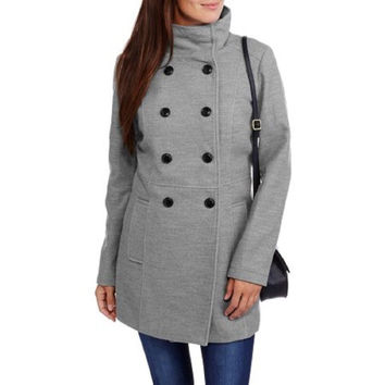 Maxwell Studio Women's Faux Wool Double-Breasted Peacoat, Grey, 2X