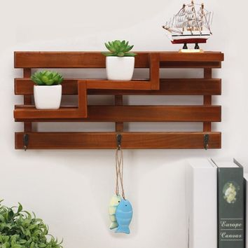retro wooden organizers wall storage rack Shop ornament display rack Potted plant shelf Living room multilayer shelf