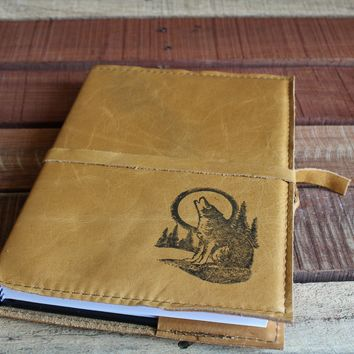 Wolf Howling in Full Moon Leather Journal