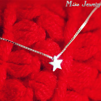 Drop Shipping 925 Sterling Silver Necklaces Star Pendant Necklace For Women Jewelry Collar Colar de Plata
