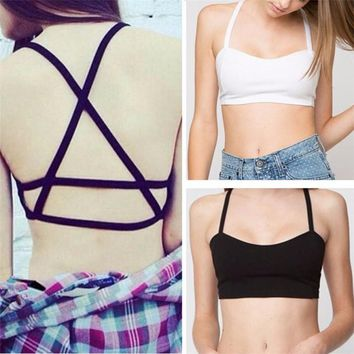 Sexy Women Camis Black White Solid Color Bottoming Tank Tops Ladies Female Caged Bra Cut Out Crop Bustier Bralette Corset Tops