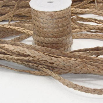 "Flat leather braided cord....5 yards of natural color   3/8"" wide (10mm) .... e576"