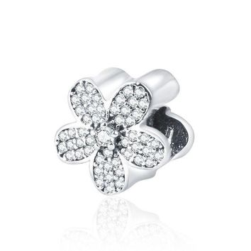 LMF8UH 2016 Summer 925-Sterling-Silver Pave CZ Daisy Flower Charms with AAAA Cubic Zirconia For Women  Pandora Bracelets DIY Jewelry