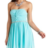 RUCHED TWIST BEADED STRAPLESS DRESS