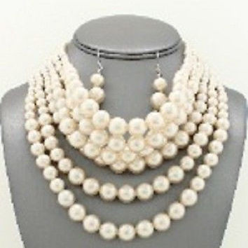 "14"" cream 6 layered choker collar bib necklace 1"" earrings basketball wives"