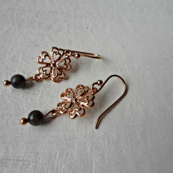 Rose Gold Heart and Flower Dangle Earrings by EudaimoniaJewelry