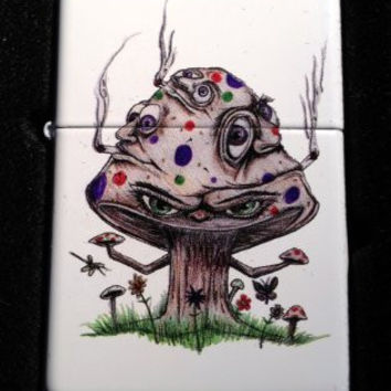 Zippo Custom Lighter - Smoking Mushroom Shroom Psychedllic Eyes Faces White Matte 214CI010118