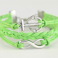 Infinity Bracelet, anchor bracelet, infinity charm, Lime green, braid leather bracelet, friendship gift 13-06