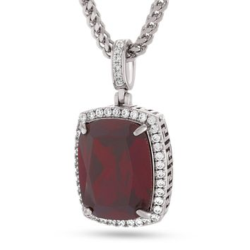 White Gold Ruby Crown Julz Necklace
