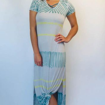 Tie Dye Maxi Dress - Teal